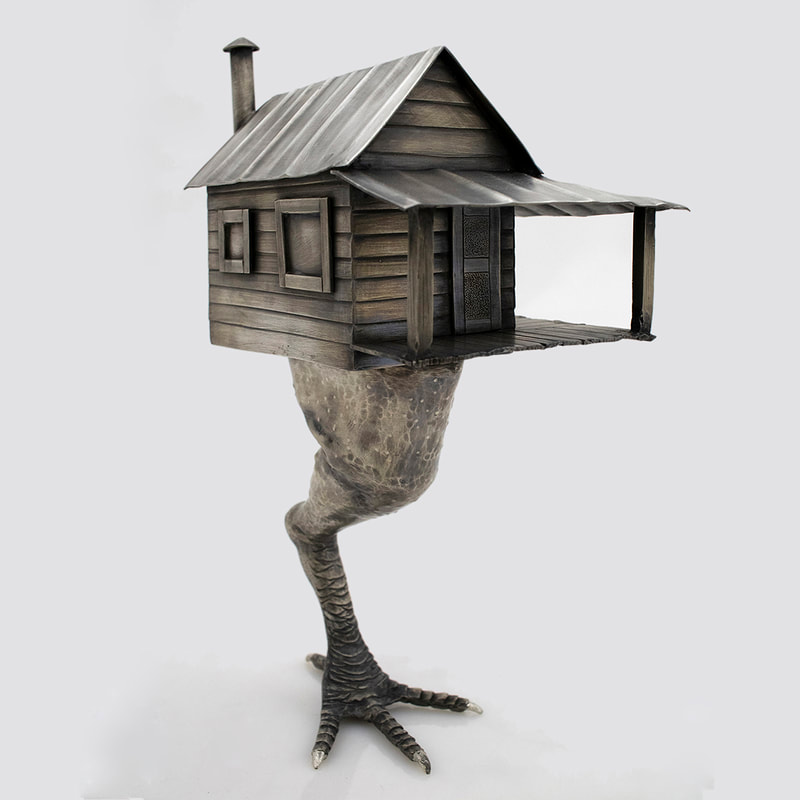 Angle Raised and Chased Shotgun House and Chicken Leg Sculpture