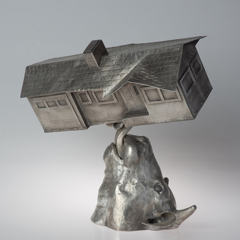 Angle Raised and Chased Bull and House Sculpture